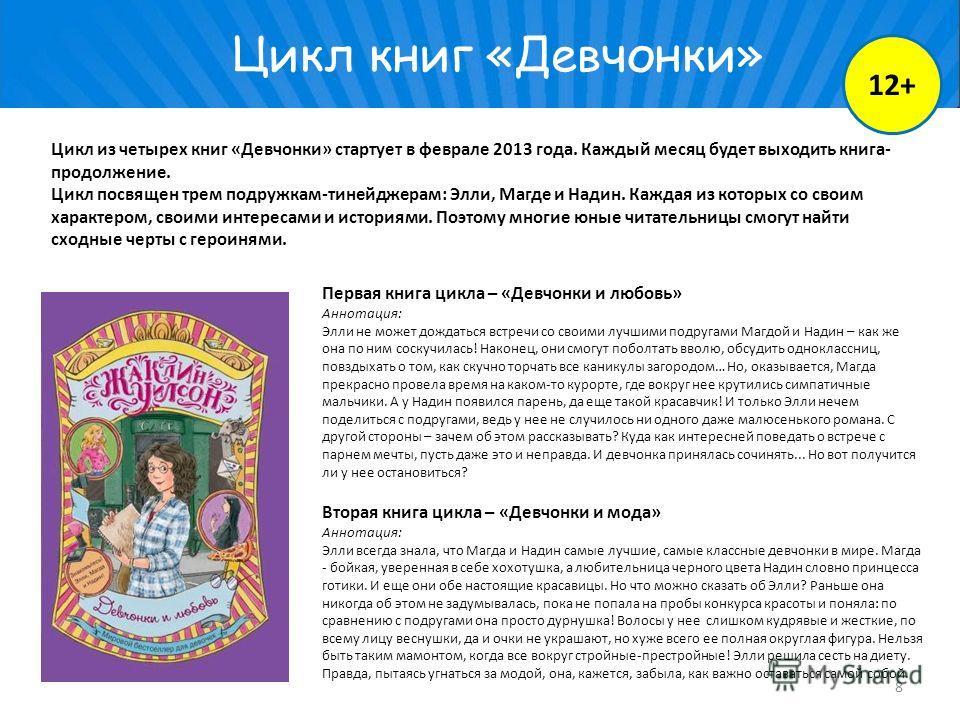 Цикл книг «Девчонки» Цикл из четырех книг «Девчонки» стартует в феврале 2013 года. Каждый месяц будет выходить книга- продолжение. Цикл посвящен трем подружкам-тинейджерам: Элли, Магде и Надин. Каждая из которых со своим характером, своими интересами