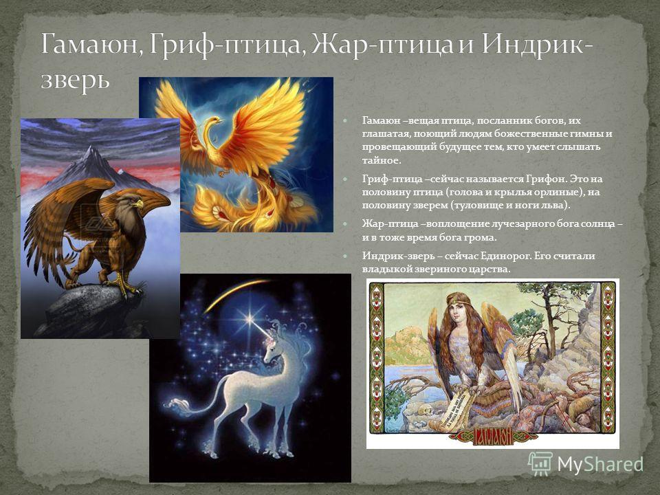 Гамаюн –вещая птица, посланник богов, их глашатая, поющий людям божественные гимны и провещающий будущее тем, кто умеет слышать тайное. Гриф-птица –сейчас называется Грифон. Это на половину птица (голова и крылья орлиные), на половину зверем (туловищ