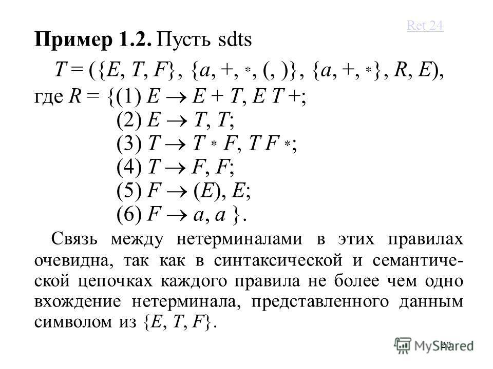 20 Пример 1.2. Пусть sdts T = ({E, T, F}, {a, +, *, (, )}, {a, +, * }, R, E), где R = {(1) E E + T, E T +; (2) E T, T; (3) T T * F, T F * ; (4) T F, F; (5) F (E), E; (6) F a, a }. Связь между нетерминалами в этих правилах очевидна, так как в синтакси