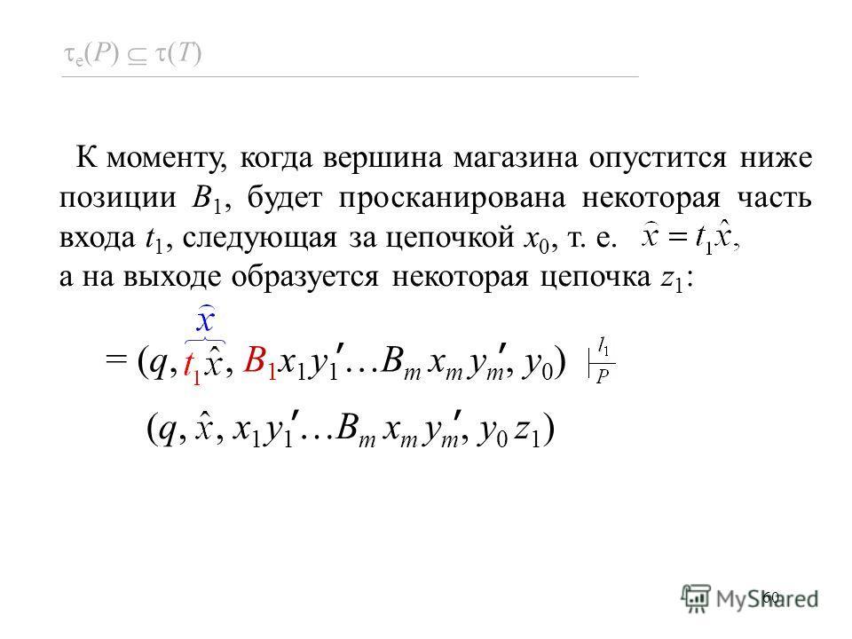 60 e (P) (T) = (q,, B 1 x 1 y 1 …B m x m y m, y 0 ) (q,, x 1 y 1 …B m x m y m, y 0 z 1 ) К моменту, когда вершина магазина опустится ниже позиции B 1, будет просканирована некоторая часть входа t 1, следующая за цепочкой x 0, т. е. а на выходе образу