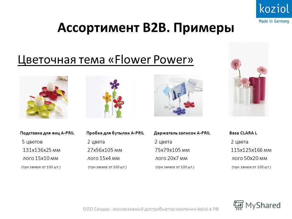 Ассортимент В2В. Примеры Цветочная тема «Flower Power» Подставка для яиц A-PRIL Пробка для бутылок A-PRIL Держатель записок A-PRIL Ваза CLARA L 5 цветов 2 цвета 2 цвета 2 цвета 131x136x25 мм 27x56x105 мм 75x79x105 мм 115x125x166 мм лого 15x10 мм лого