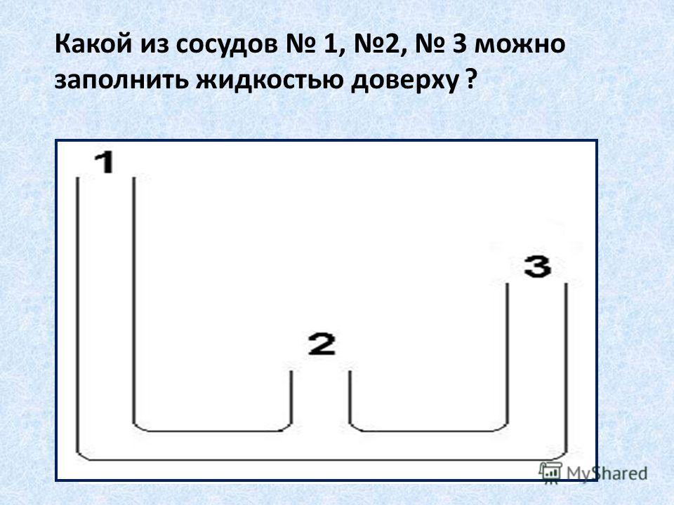 Какой из сосудов 1, 2, 3 можно заполнить жидкостью доверху ?