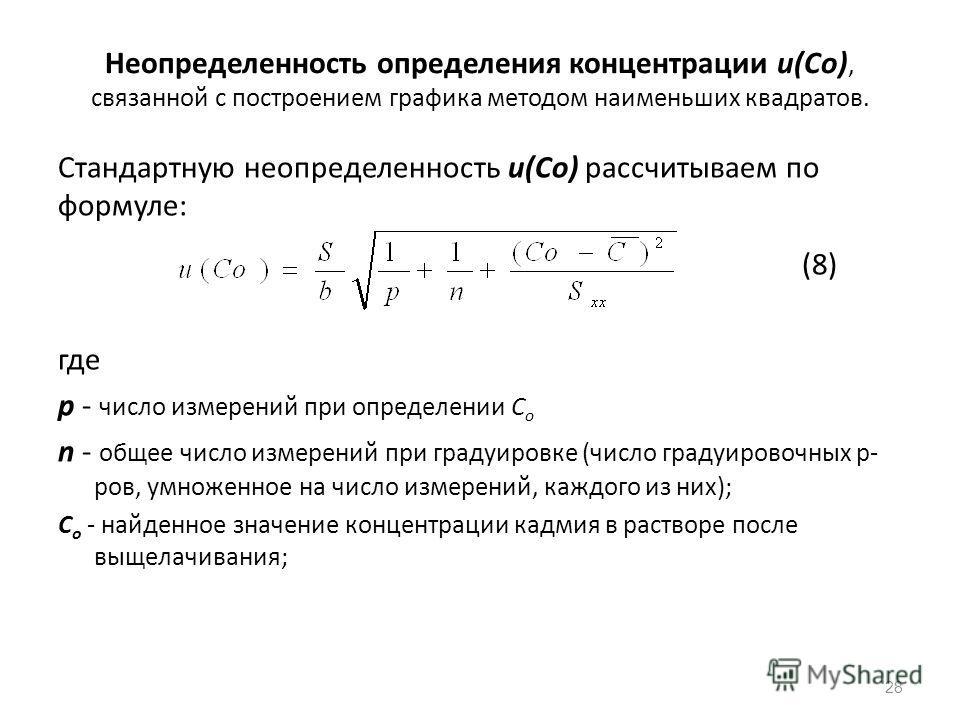 Неопределенность определения концентрации u(Со), связанной с построением графика методом наименьших квадратов. Стандартную неопределенность и(Со) рассчитываем по формуле: (8) где р - число измерений при определении С o n - общее число измерений при г