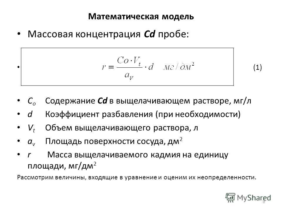 Математическая модель Массовая концентрация Cd пробе: (1) C o Содержание Cd в выщелачивающем растворе, мг/л dКоэффициент разбавления (при необходимости) V t Объем выщелачивающего раствора, л a v Площадь поверхности сосуда, дм 2 r Масса выщелачиваемог