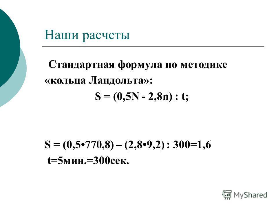 Наши расчеты Стандартная формула по методике «кольца Ландольта»: S = (0,5N - 2,8n) : t; S = (0,5770,8) – (2,89,2) : 300=1,6 t=5мин.=300сек.