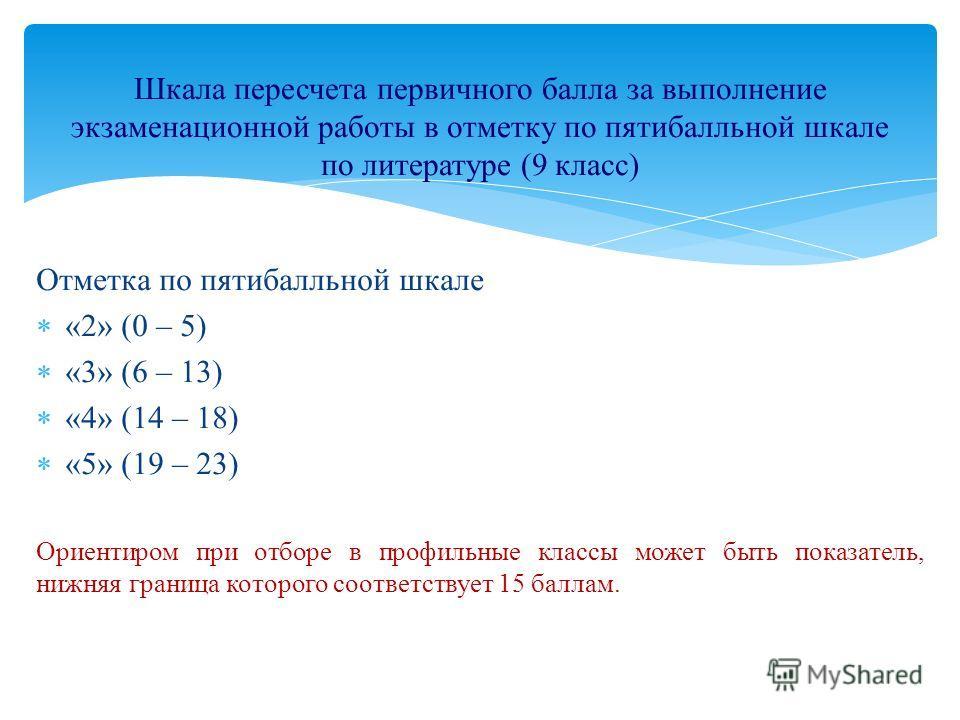 Отметка по пятибалльной шкале «2» (0 – 5) «3» (6 – 13) «4» (14 – 18) «5» (19 – 23) Ориентиром при отборе в профильные классы может быть показатель, нижняя граница которого соответствует 15 баллам. Шкала пересчета первичного балла за выполнение экзаме