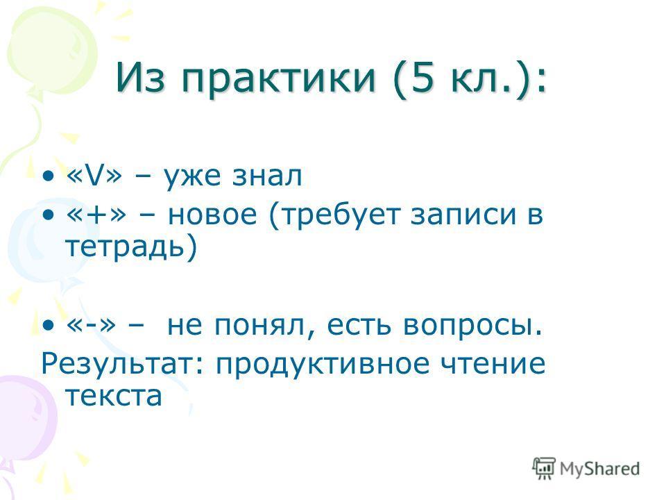 Из практики (5 кл.): «V» – уже знал «+» – новое (требует записи в тетрадь) «-» – не понял, есть вопросы. Результат: продуктивное чтение текста