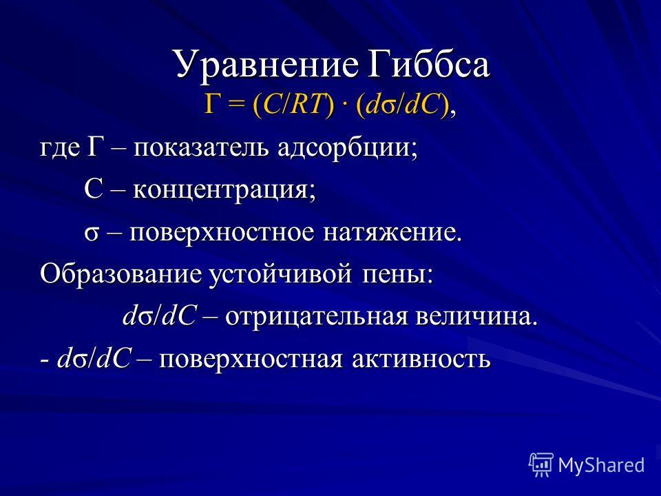 Г = (С/RT) (dσ/dС), где Г – показатель адсорбции; С – концентрация; С – концентрация; σ – поверхностное натяжение. σ – поверхностное натяжение. Образование устойчивой пены: dσ/dС – отрицательная величина. - dσ/dС – поверхностная активность Уравнение