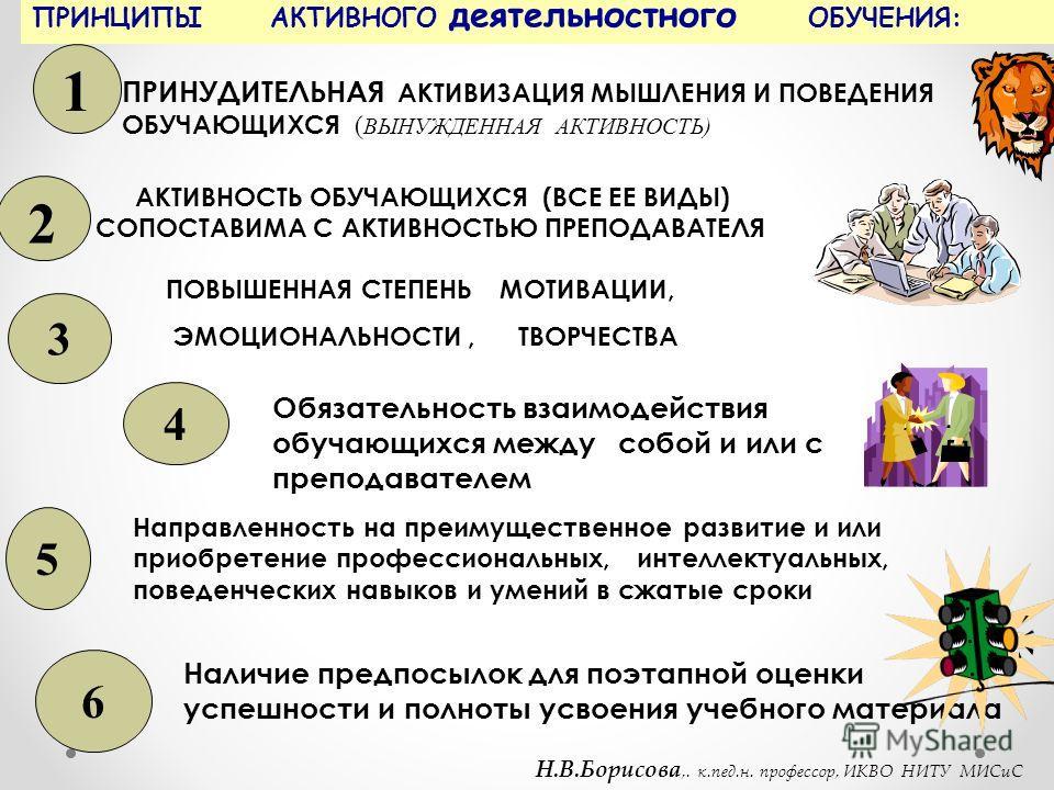 ПРИНЦИПЫ АКТИВНОГО деятельностного ОБУЧЕНИЯ: 1 ПРИНУДИТЕЛЬНАЯ АКТИВИЗАЦИЯ МЫШЛЕНИЯ И ПОВЕДЕНИЯ ОБУЧАЮЩИХСЯ ( ВЫНУЖДЕННАЯ АКТИВНОСТЬ) 2 АКТИВНОСТЬ ОБУЧАЮЩИХСЯ (ВСЕ ЕЕ ВИДЫ) СОПОСТАВИМА С АКТИВНОСТЬЮ ПРЕПОДАВАТЕЛЯ ПОВЫШЕННАЯ СТЕПЕНЬ МОТИВАЦИИ, ЭМОЦИОНА
