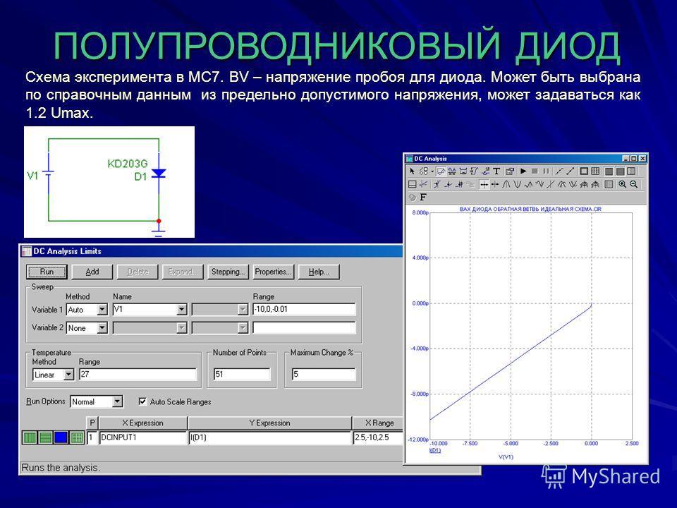 ПОЛУПРОВОДНИКОВЫЙ ДИОД Схема эксперимента в МС7. BV – напряжение пробоя для диода. Может быть выбрана по справочным данным из предельно допустимого напряжения, может задаваться как 1.2 Umax.