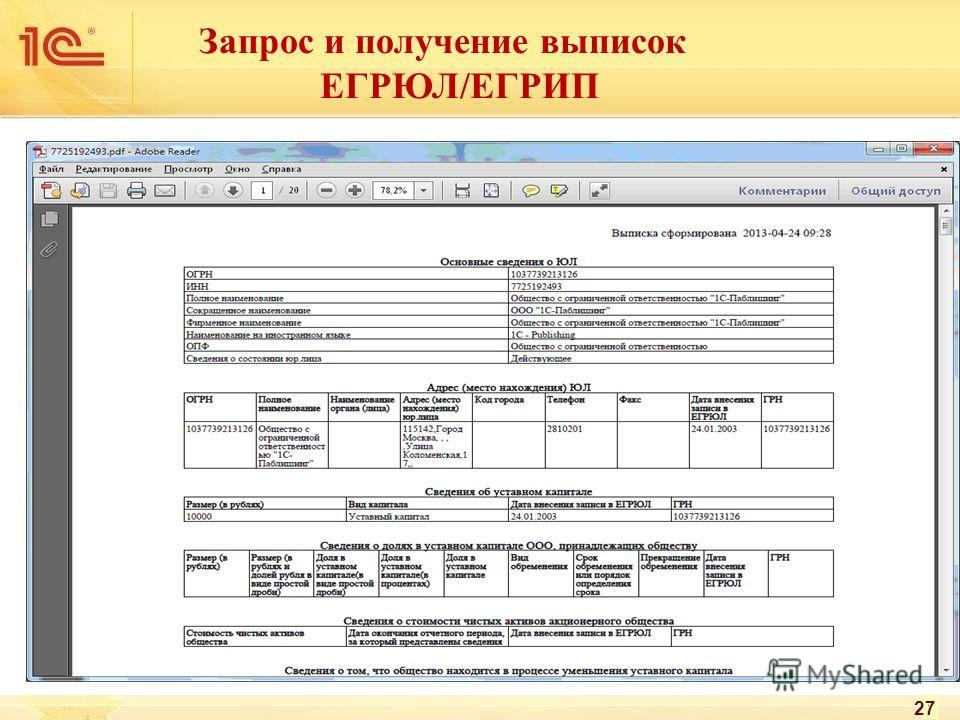 1. Создание запроса 2. Отправка запроса 27 Запрос и получение выписок ЕГРЮЛ/ЕГРИП
