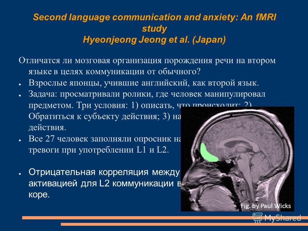 Second language communication and anxiety: An fMRI study Hyeonjeong Jeong et al. (Japan) Отличатся ли мозговая организация порождения речи на втором языке в целях коммуникации от обычного? Взрослые японцы, учившие английский, как второй язык. Задача: