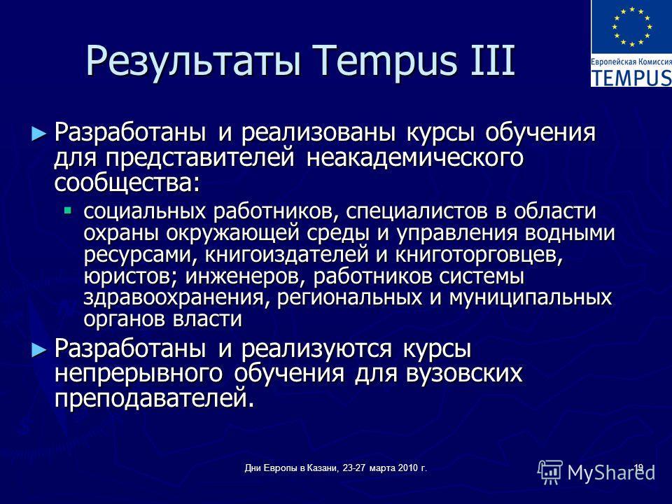Дни Европы в Казани, 23-27 марта 2010 г.19 Результаты Tempus III Разработаны и реализованы курсы обучения для представителей неакадемического сообщества: Разработаны и реализованы курсы обучения для представителей неакадемического сообщества: социаль