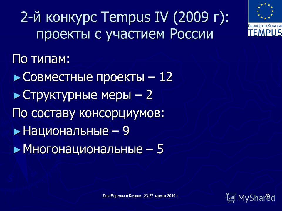 Дни Европы в Казани, 23-27 марта 2010 г.30 2-й конкурс Tempus IV (2009 г): проекты с участием России По типам: Совместные проекты – 12 Совместные проекты – 12 Структурные меры – 2 Структурные меры – 2 По составу консорциумов: Национальные – 9 Национа