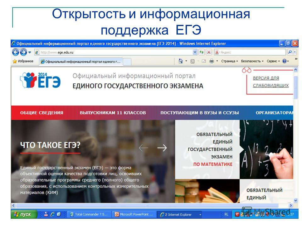 Открытость и информационная поддержка ЕГЭ