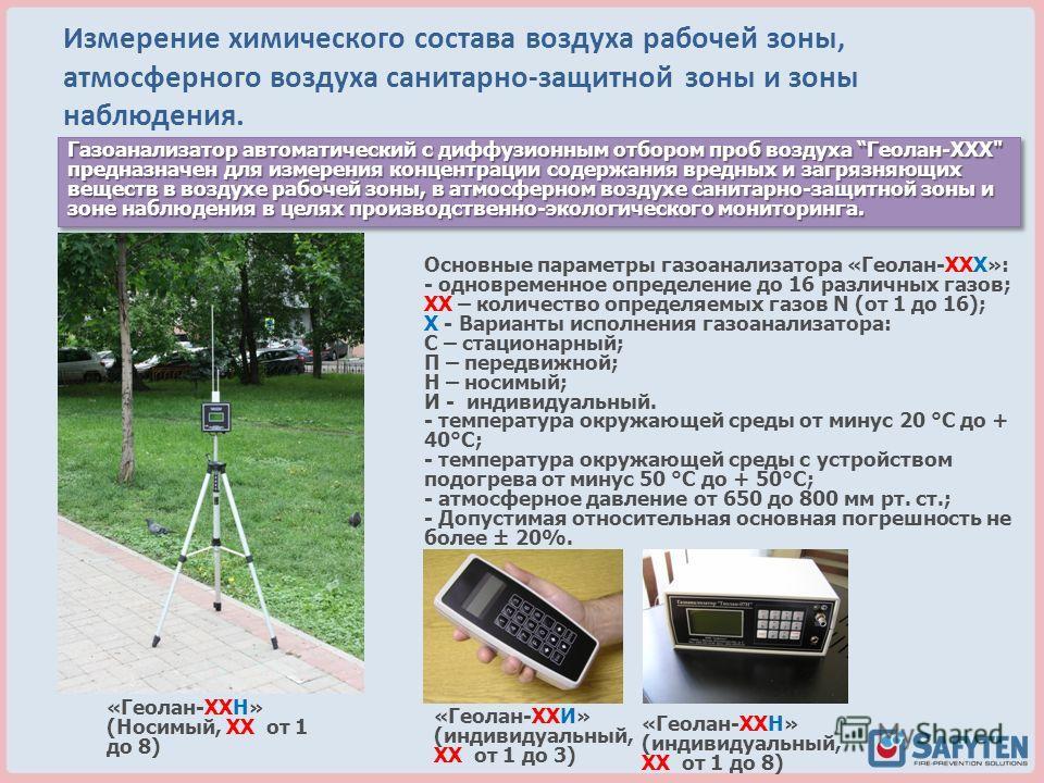 Измерение химического состава воздуха рабочей зоны, атмосферного воздуха санитарно-защитной зоны и зоны наблюдения. Газоанализатор автоматический с диффузионным отбором проб воздуха Геолан-XXX