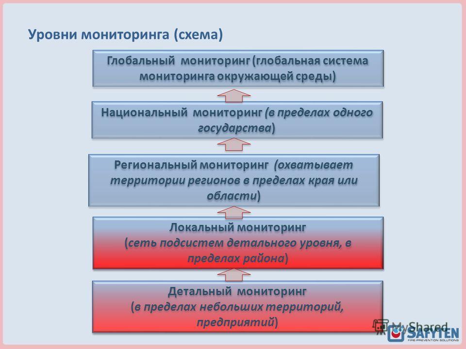 Уровни мониторинга (схема) Глобальный мониторинг (глобальная система мониторинга окружающей среды) Региональный мониторинг (охватывает территории регионов в пределах края или области) Локальный мониторинг (сеть подсистем детального уровня, в пределах