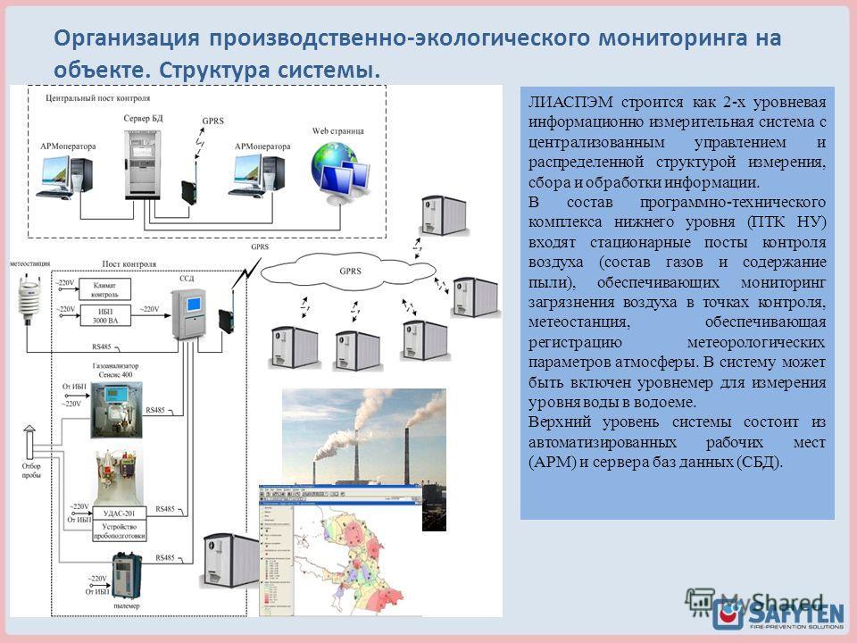 ЛИАСПЭМ строится как 2 х уровневая информационно измерительная система с централизованным управлением и распределенной структурой измерения, сбора и обработки информации. В состав программно-технического комплекса нижнего уровня (ПТК НУ) входят стаци