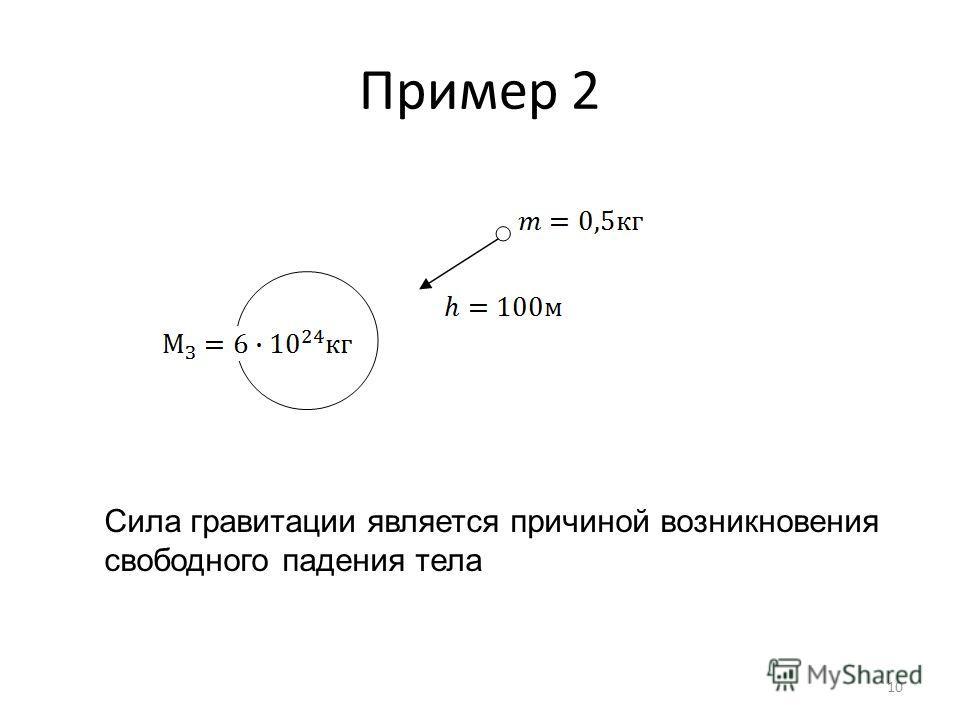 Пример 2 Сила гравитации является причиной возникновения свободного падения тела 10