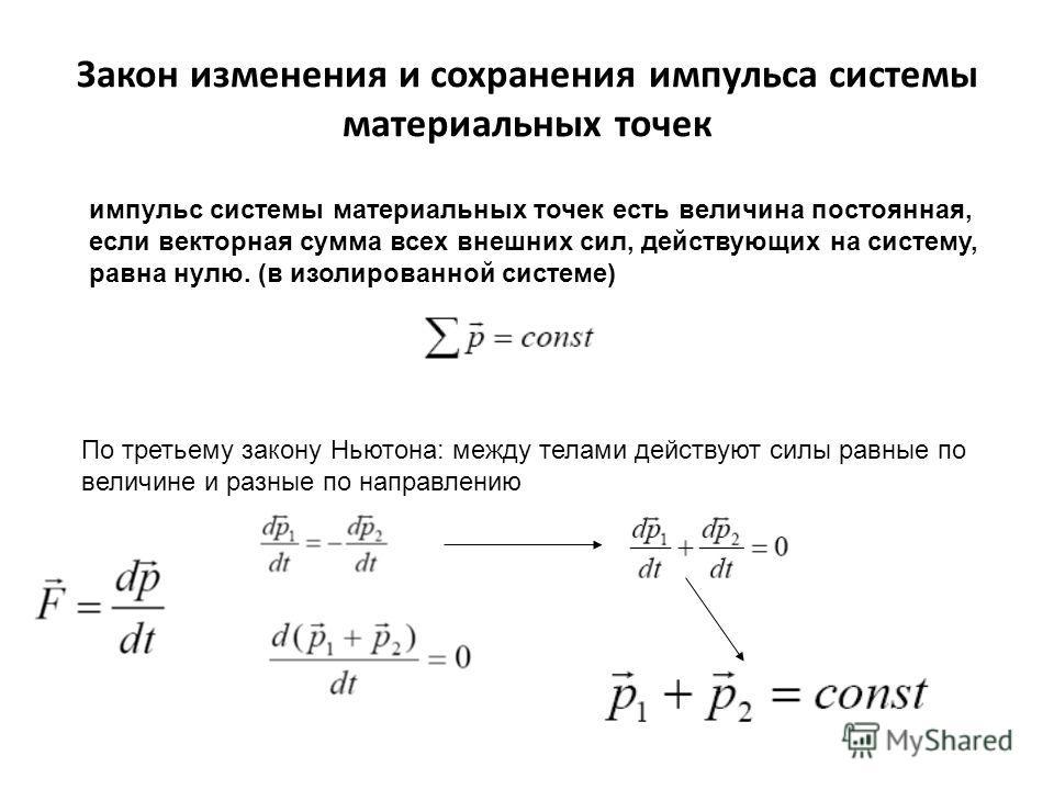 Закон изменения и сохранения импульса системы материальных точек импульс системы материальных точек есть величина постоянная, если векторная сумма всех внешних сил, действующих на систему, равна нулю. (в изолированной системе) По третьему закону Ньют