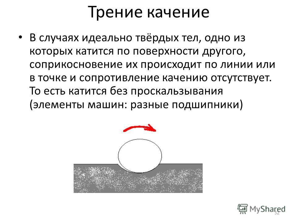 Трение качение В случаях идеально твёрдых тел, одно из которых катится по поверхности другого, соприкосновение их происходит по линии или в точке и сопротивление качению отсутствует. То есть катится без проскальзывания (элементы машин: разные подшипн