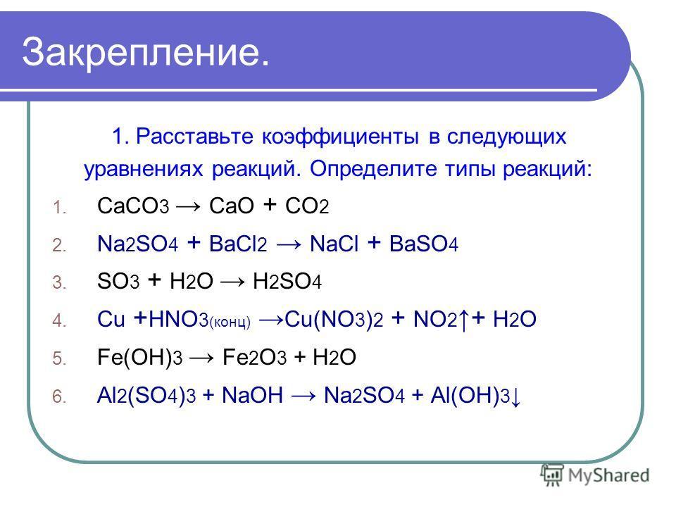 Закрепление. 1. Расставьте коэффициенты в следующих уравнениях реакций. Определите типы реакций: 1. СаСО 3 СаО + CO 2 2. Na 2 SO 4 + ВаСl 2 NaСl + ВаSO 4 3. SO 3 + H 2 O H 2 SO 4 4. Cu + HNO 3 (конц) Cu(NO 3 ) 2 + NO 2 + H 2 O 5. Fe(OH) 3 Fe 2 O 3 +