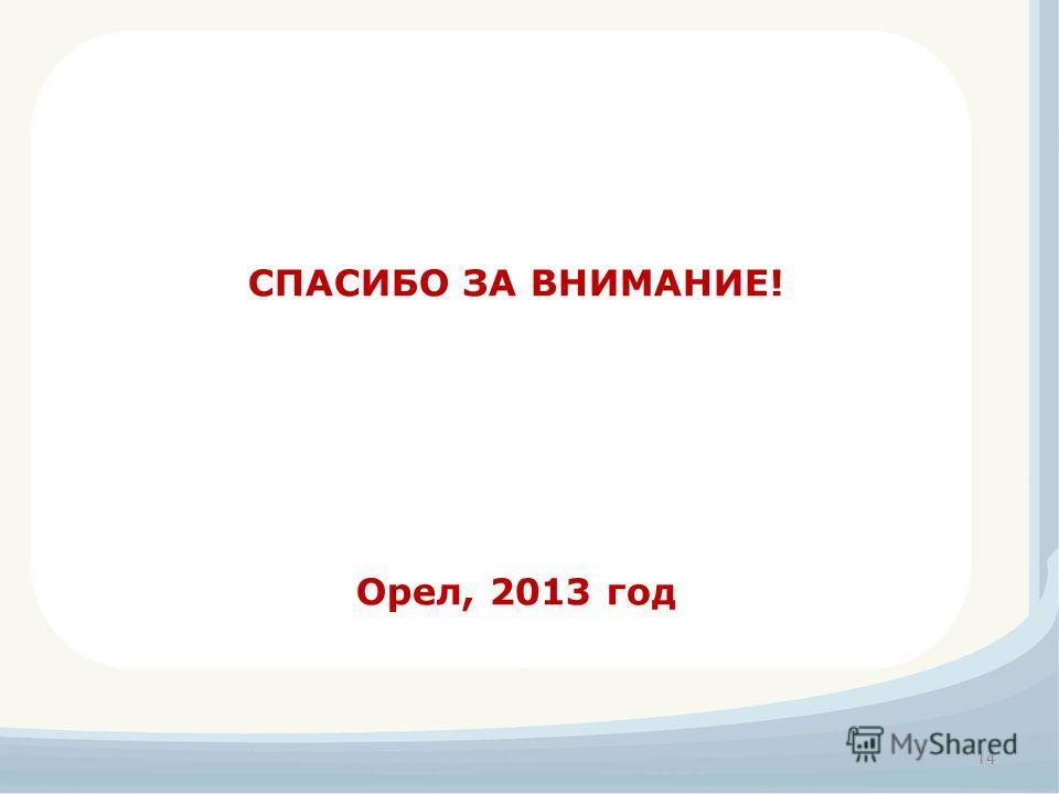 14 СПАСИБО ЗА ВНИМАНИЕ! Орел, 2013 год