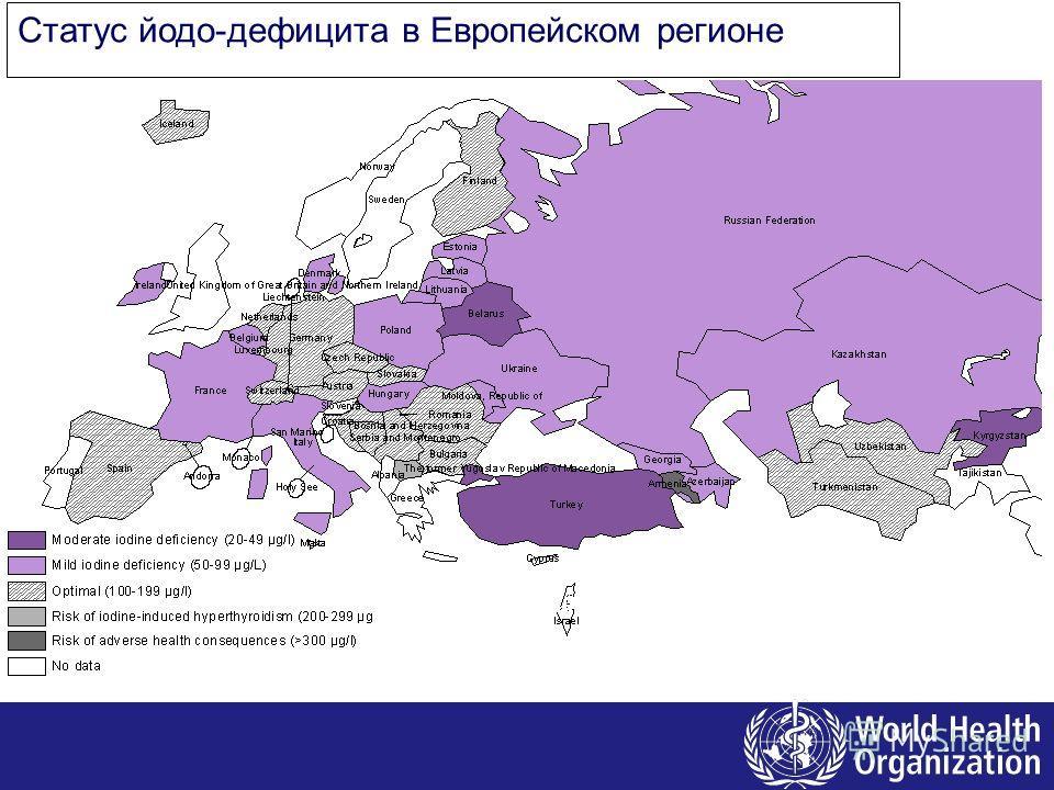 Статус йодо-дефицита в Европейском регионе