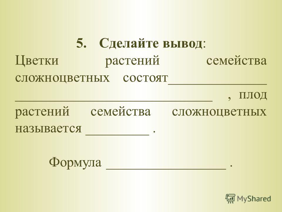 5.Сделайте вывод: Цветки растений семейства сложноцветных состоят______________ ____________________________, плод растений семейства сложноцветных называется _________. Формула _________________.