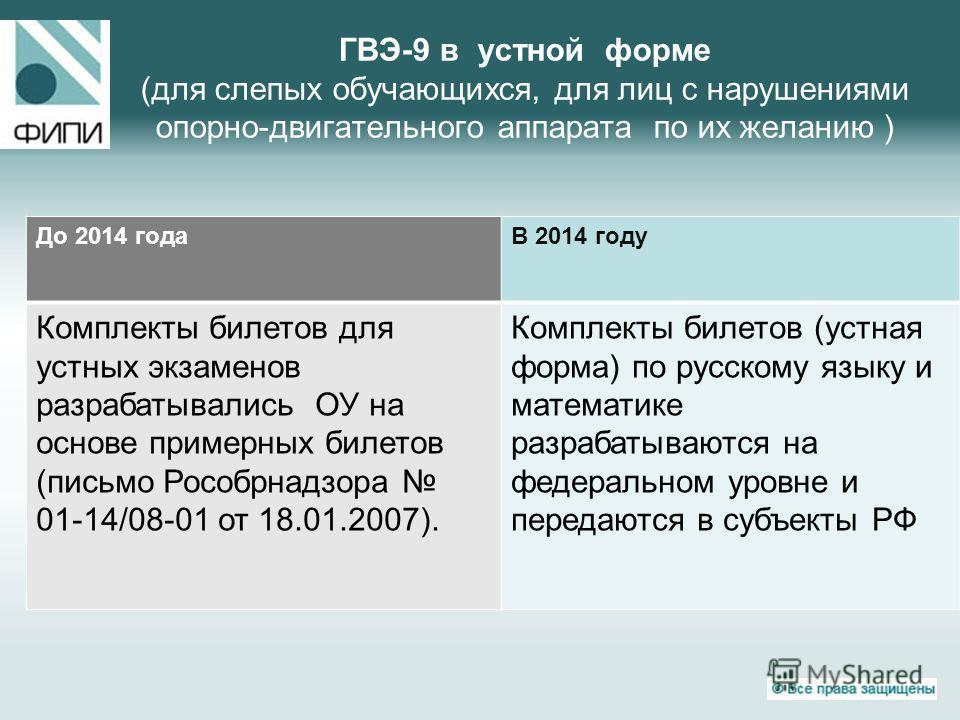 ГВЭ-9 в устной форме (для слепых обучающихся, для лиц с нарушениями опорно-двигательного аппарата по их желанию ) До 2014 года В 2014 году Комплекты билетов для устных экзаменов разрабатывались ОУ на основе примерных билетов (письмо Рособрнадзора 01-