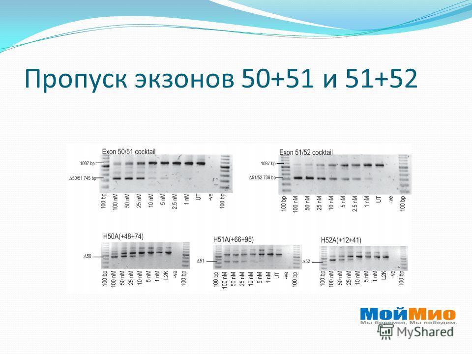 Пропуск экзонов 50+51 и 51+52