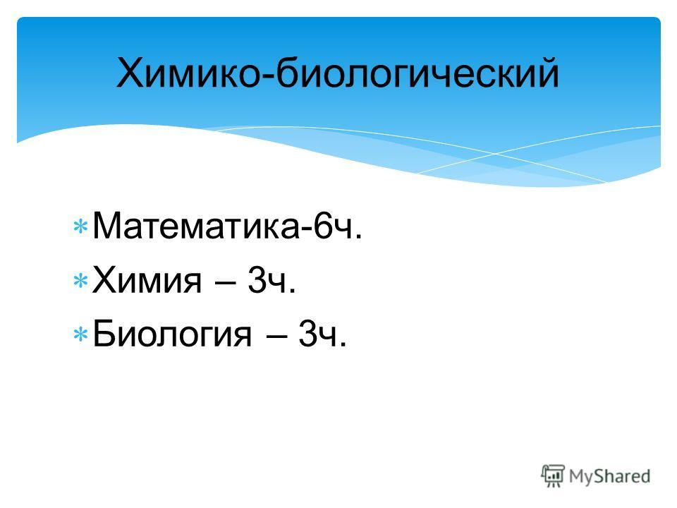 Химико-биологический Математика-6ч. Химия – 3ч. Биология – 3ч.