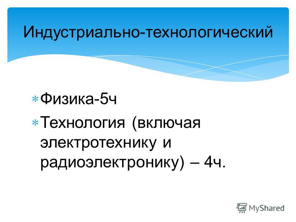 Индустриально-технологический Физика-5ч Технология (включая электротехнику и радиоэлектронику) – 4ч.
