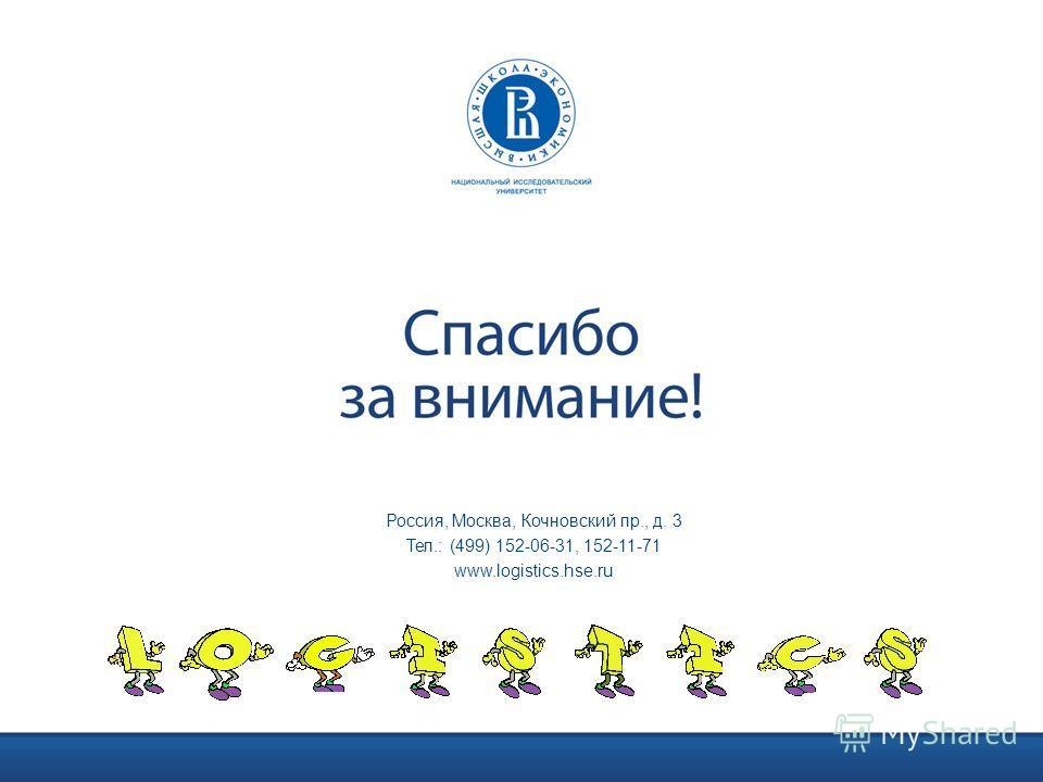 Россия, Москва, Кочновский пр., д. 3 Тел.: (499) 152-06-31, 152-11-71 www.logistics.hse.ru