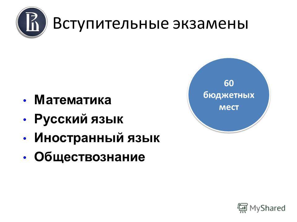 Вступительные экзамены Математика Русский язык Иностранный язык Обществознание 60 бюджетных мест