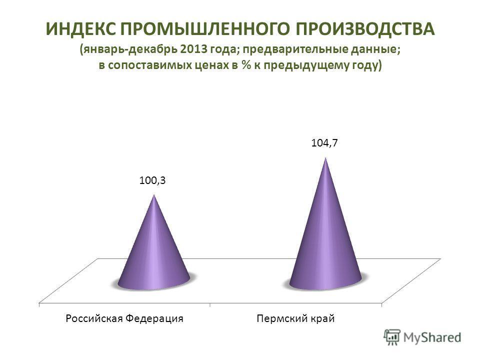 ИНДЕКС ПРОМЫШЛЕННОГО ПРОИЗВОДСТВА (январь-декабрь 2013 года; предварительные данные; в сопоставимых ценах в % к предыдущему году)