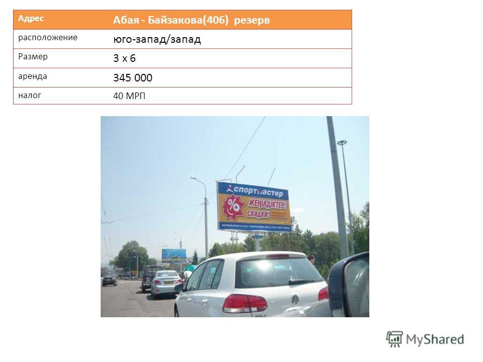 Адрес Абая - Байзакова(406) резерв расположение юго-запад/запад Размер 3 х 6 аренда 345 000 налог 40 МРП