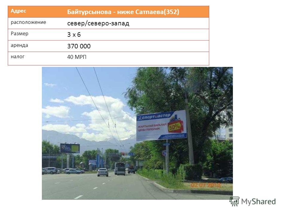 Адрес Байтурсынова - ниже Сатпаева(352) расположение север/северо-запад Размер 3 х 6 аренда 370 000 налог 40 МРП