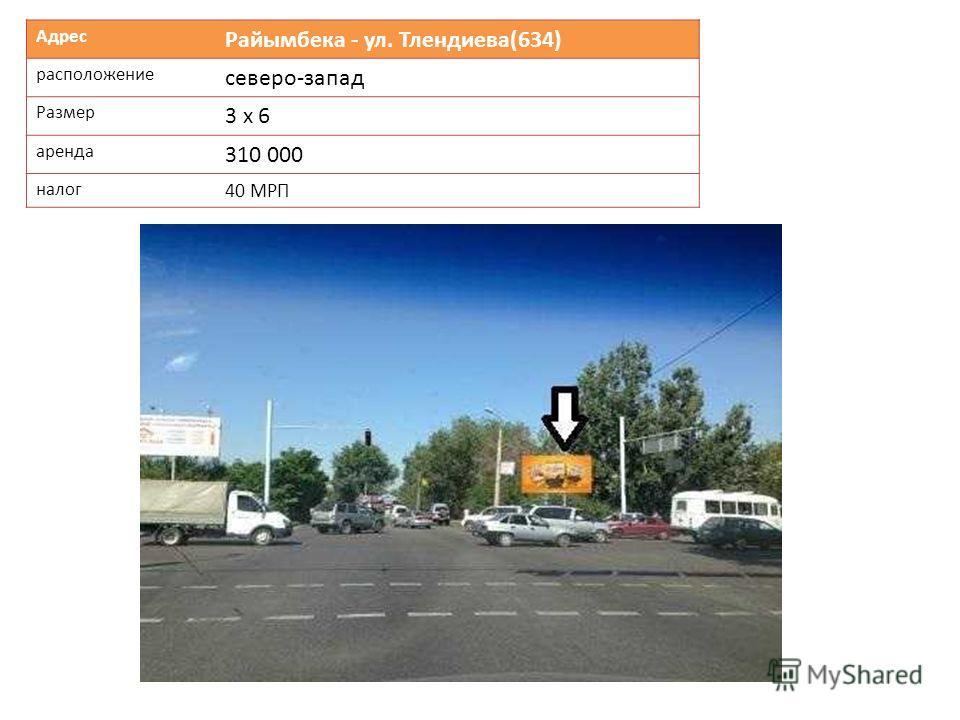 Адрес Райымбека - ул. Тлендиева(634) расположение северо-запад Размер 3 х 6 аренда 310 000 налог 40 МРП