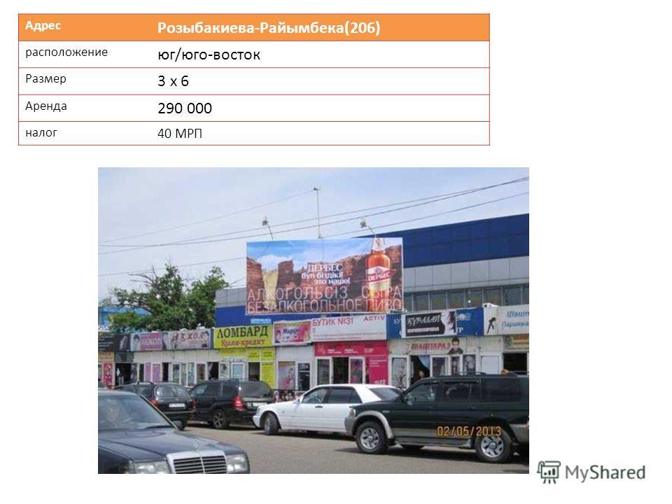 Адрес Розыбакиева-Райымбека(206) расположение юг/юго-восток Размер 3 х 6 Аренда 290 000 налог 40 МРП