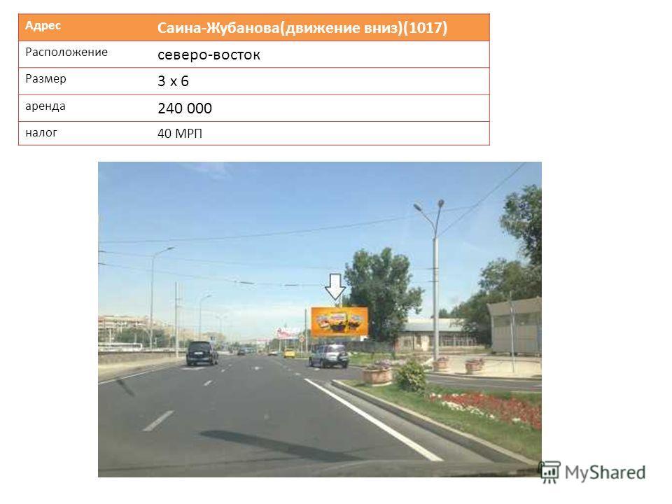 Адрес Саина-Жубанова(движение вниз)(1017) Расположение северо-восток Размер 3 х 6 аренда 240 000 налог 40 МРП