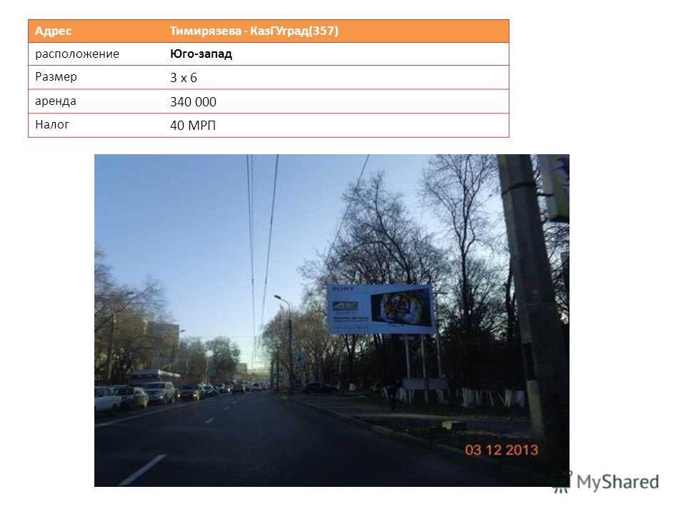 Адрес Тимирязева - КазГУград(357) расположениеЮго-запад Размер 3 х 6 аренда 340 000 Налог 40 МРП