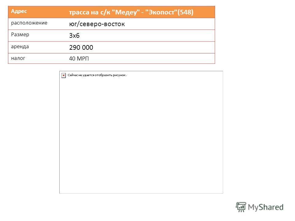 Адрес трасса на с/к Медеу - Экопост(548) расположение юг/северо-восток Размер 3х6 аренда 290 000 налог 40 МРП