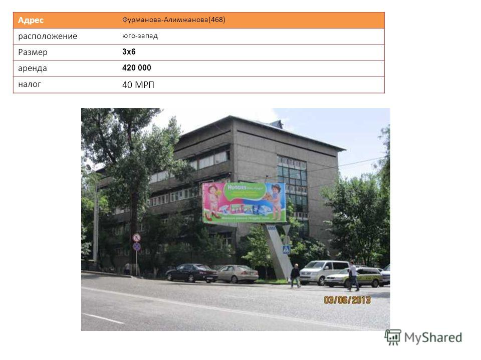 Адрес Фурманова-Алимжанова(468) расположение юго-запад Размер 3х63х6 аренда 420 000 налог 40 МРП