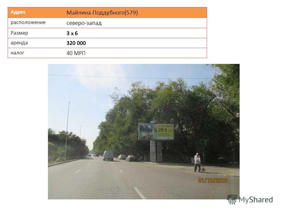 Адрес Майлина-Поддубного(579) расположение северо-запад Размер 3 х 6 аренда 320 000 налог 40 МРП