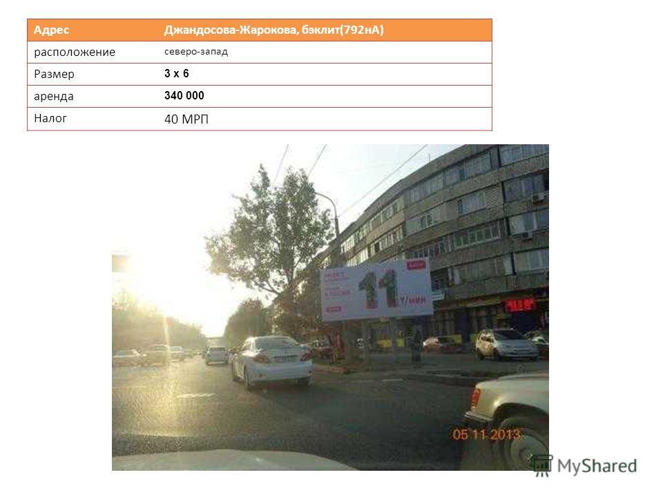 Адрес Джандосова-Жарокова, бэклит(792нА) расположение северо-запад Размер 3 х 6 аренда 340 000 Налог 40 МРП