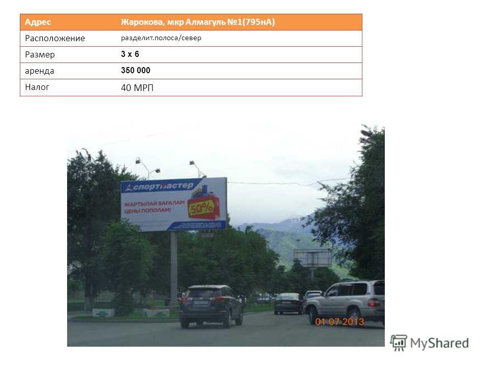 Адрес Жарокова, мкр Алмагуль 1(795нА) Расположение разделит.полоса/север Размер 3 х 6 аренда 350 000 Налог 40 МРП
