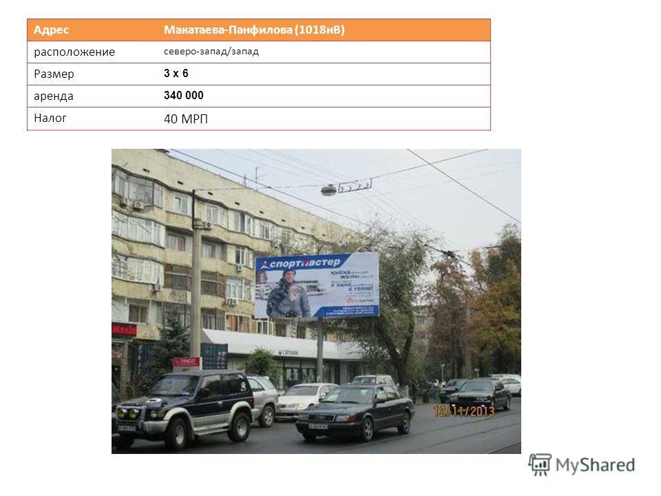 Адрес Макатаева-Панфилова (1018нВ) расположение северо-запад/запад Размер 3 х 6 аренда 340 000 Налог 40 МРП