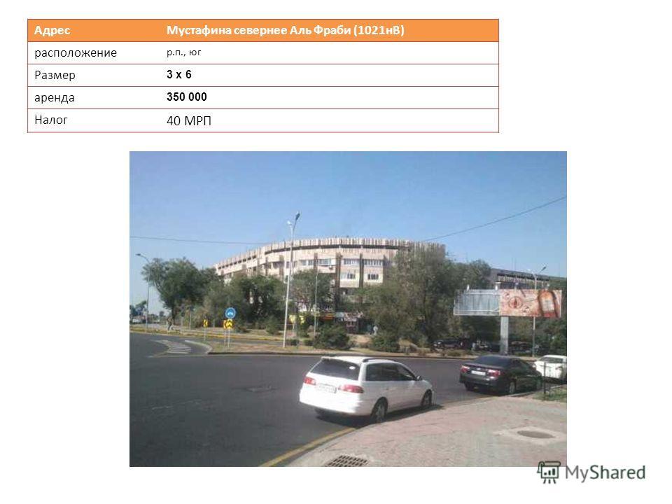 Адрес Мустафина севернее Аль Фраби (1021нВ) расположение р.п., юг Размер 3 х 6 аренда 350 000 Налог 40 МРП