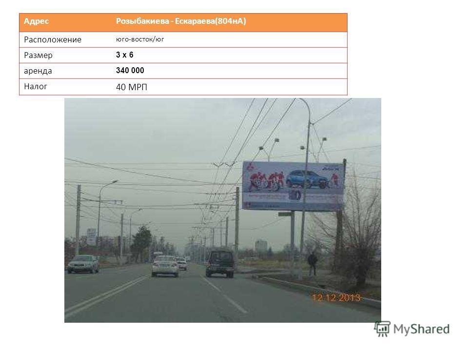 Адрес Розыбакиева - Ескараева(804нА) Расположение юго-восток/юг Размер 3 х 6 аренда 340 000 Налог 40 МРП